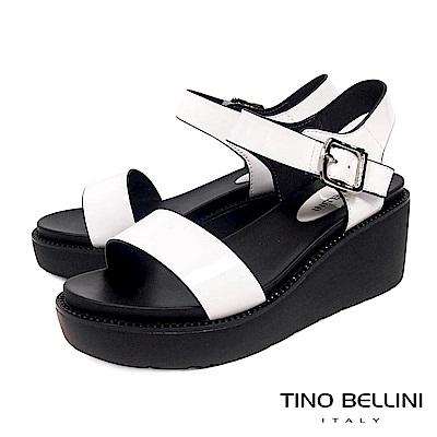 Tino Bellini 潮人單釦帶細鑽漆皮楔型涼鞋 _ 白