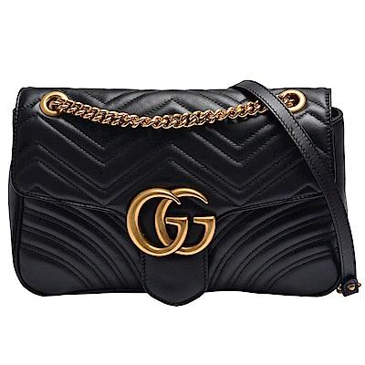GUCCI GG Marmont絎縫紋牛皮金屬雙G LOGO暗壓釦手拿/斜背包(中-黑)