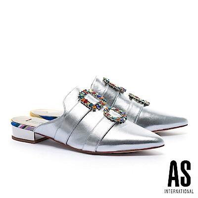 拖鞋 AS 繽紛彩鑽釦飾羊皮穆勒低跟拖鞋-銀