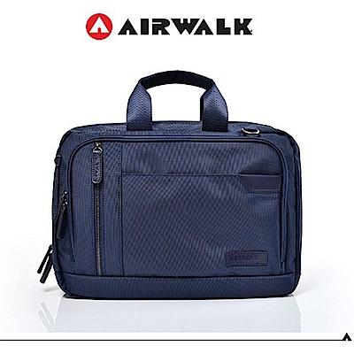 【AIRWALK】移動城市多夾層手提斜背包-藍