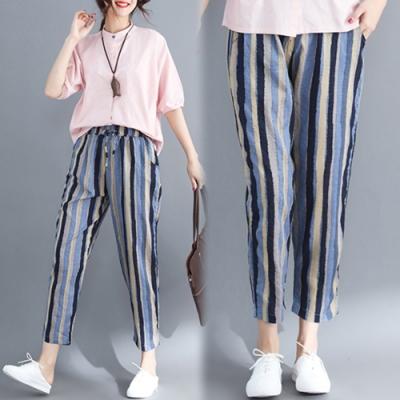 【韓國K.W.】(現貨)條紋寬鬆舒適哈倫褲-1色