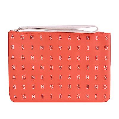 agnes b. LOGO標誌PU手拿包(小/橘紅)