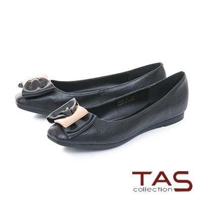 TAS雙層蝴蝶結方頭荔枝紋牛皮娃娃鞋-百搭黑