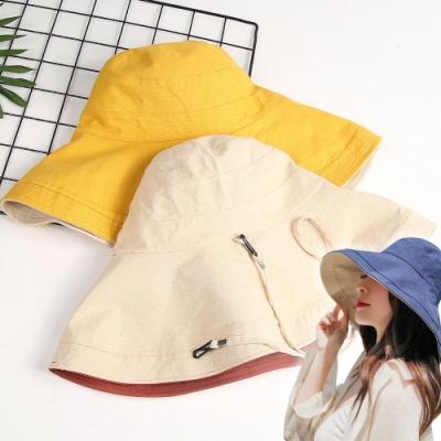 EZlife雙面大帽簷小臉遮陽帽(贈不脫紗絲襪)