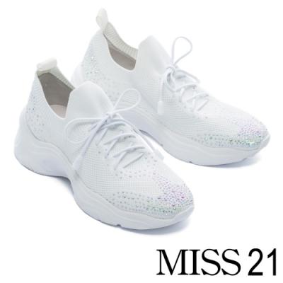休閒鞋 MISS 21 細膩水鑽光澤飛織布老爹綁帶厚底休閒鞋-白