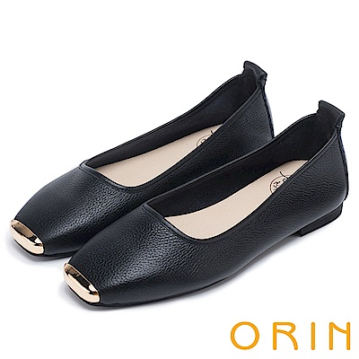 ORIN 率性簡約 金屬方頭牛皮平底鞋-黑色