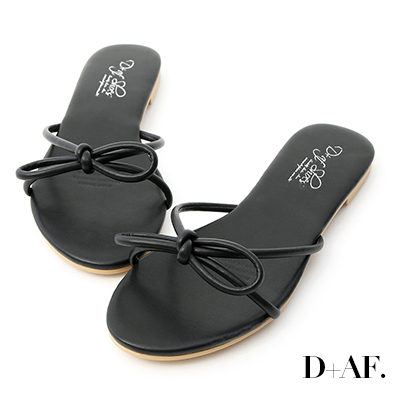 D+AF 甜美氣息.蝴蝶綁結平底涼拖鞋*黑