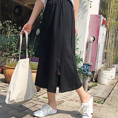 La Belleza百搭素面棉質側邊小開叉中長裙
