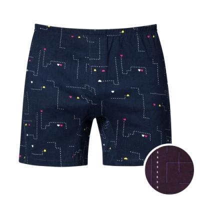 DADADO-找找愛 4L印花四角男內褲(紫) 天然絲光棉 吸濕排汗