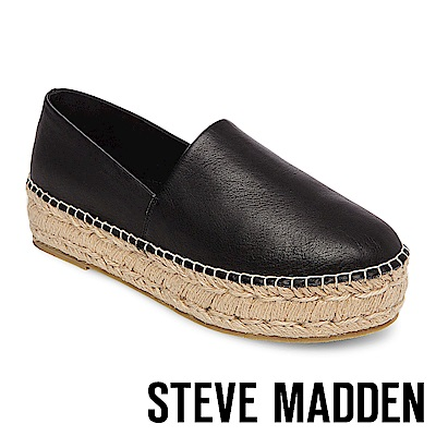 STEVE MADDEN-PRISILA 真皮厚底麻編鞋-黑色
