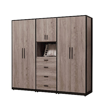 文創集 波可7.3尺木紋衣櫃/收納櫃組合(吊衣桿+五抽屜)-218x57x200cm免組