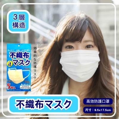 【日本空運進口】高密度結構 三層不織布 成人口罩(5片/包) x3包