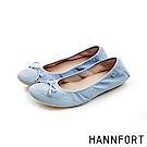 HANNFORT FLEX360蝴蝶結緹花娃娃鞋-女-天空藍