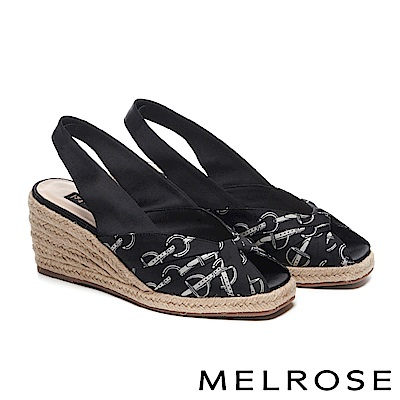 高跟鞋 MELROSE 潮流印花緞布蝴蝶結魚口後繫帶楔型高跟鞋-黑