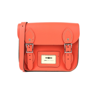 The Leather Satchel 英國手工牛皮劍橋包 肩背包 珊瑚紅 8.5吋