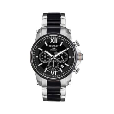 Bentley 賓利 Racing系列 不鏽鋼三眼手表-黑x銀/43mm