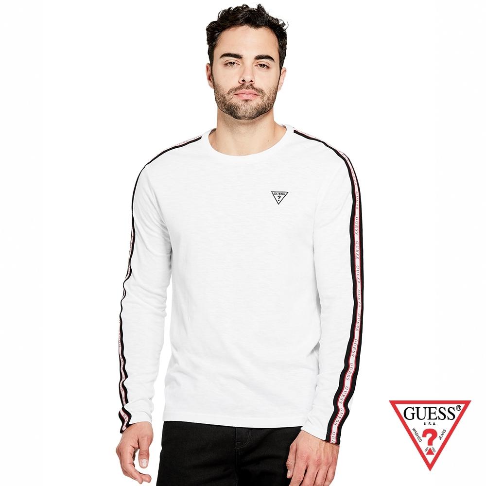GUESS-男裝-純色圓領長袖上衣-白 原價2490