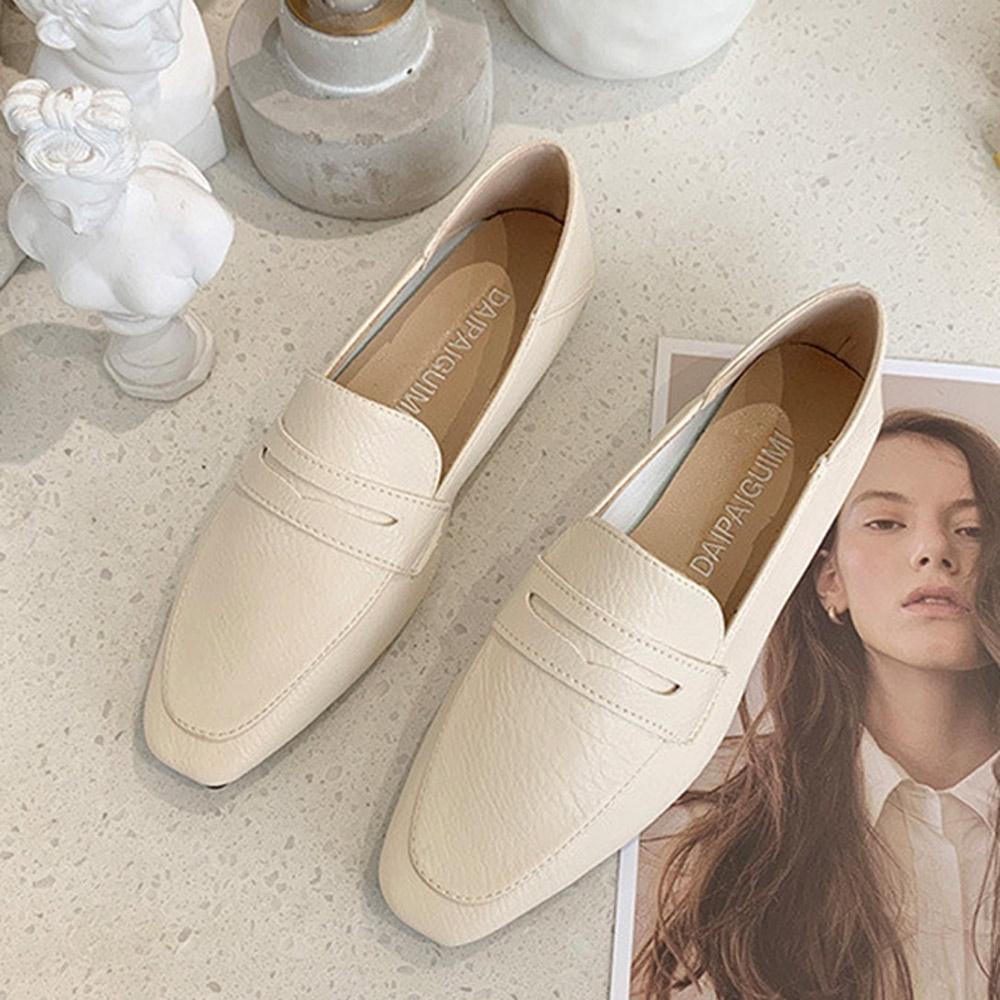 韓國KW美鞋館-(現貨)好評加碼帥氣素色樂福鞋(共3色) (米色)