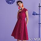 SO NICE秋季繽紛優雅V領洋裝