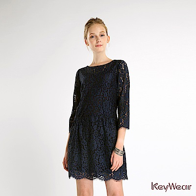 KeyWear奇威名品    蕾絲布料七分袖洋裝-藍色