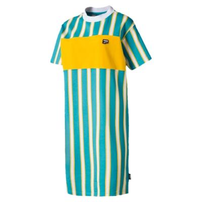 PUMA-女性流行系列Downtown條紋連身裙-乳粉藍-歐規