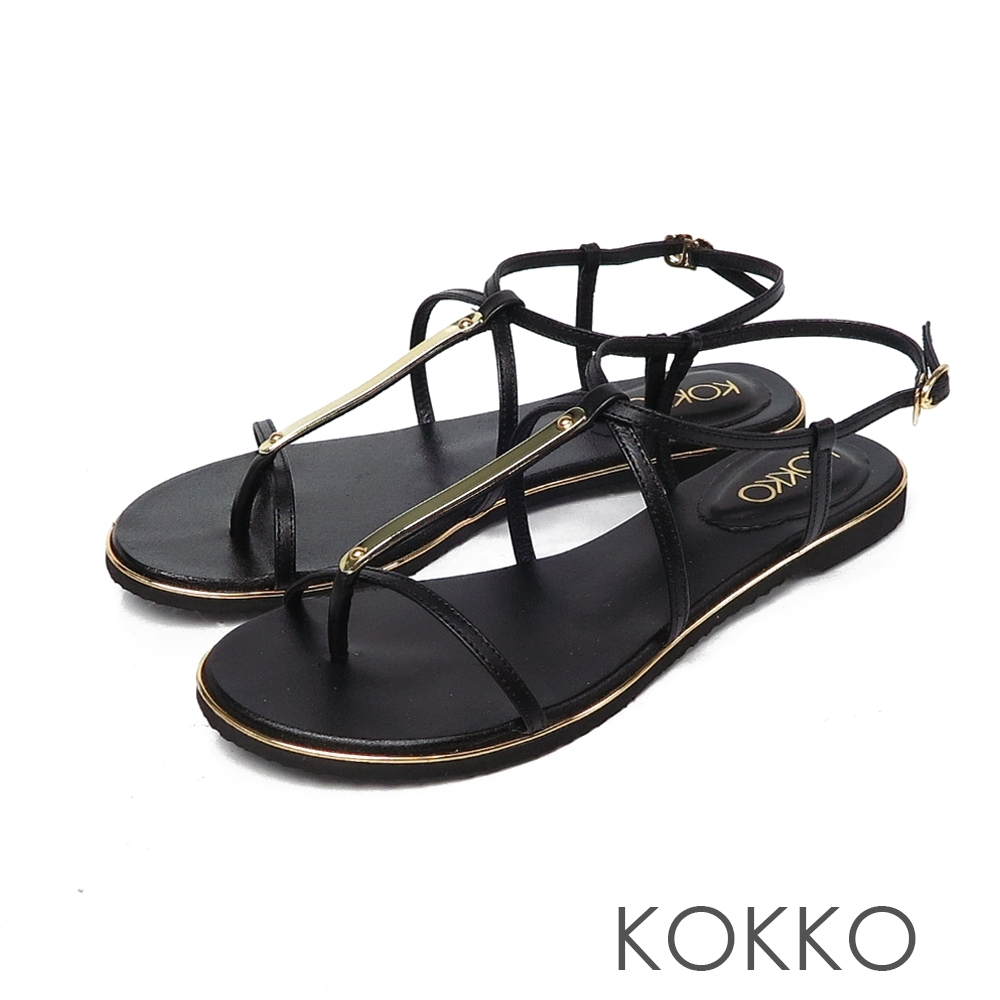 KOKKO優美線條細帶平底牛皮涼鞋黑咖啡