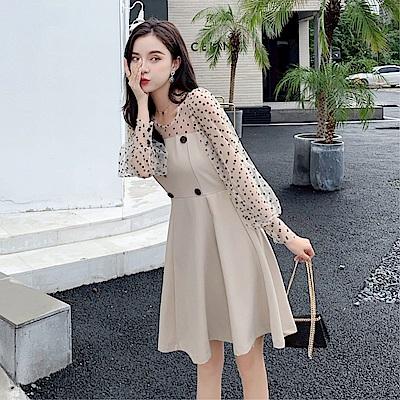 DABI 韓國風泡泡袖波點拼接假兩件蓬蓬長袖洋裝