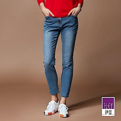 ILEY伊蕾 刷白造型內磨毛窄管牛仔褲(藍)
