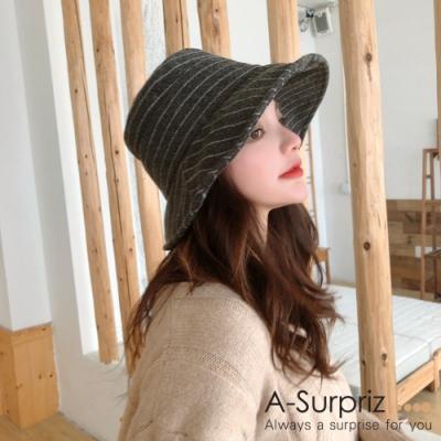 A-Surpriz 斜直條紋混紡毛呢漁夫帽(深灰)