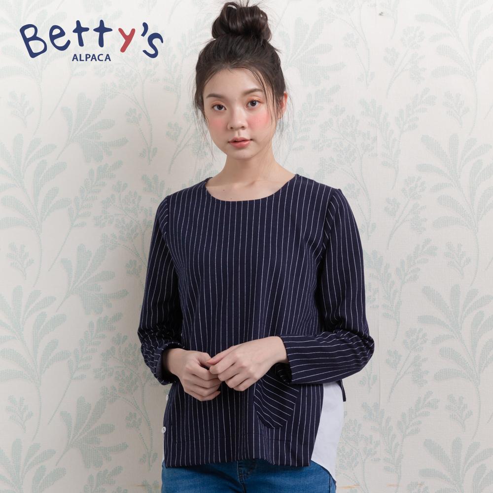betty's貝蒂思 優雅條紋拼接造型上衣(深藍) @ Y!購物