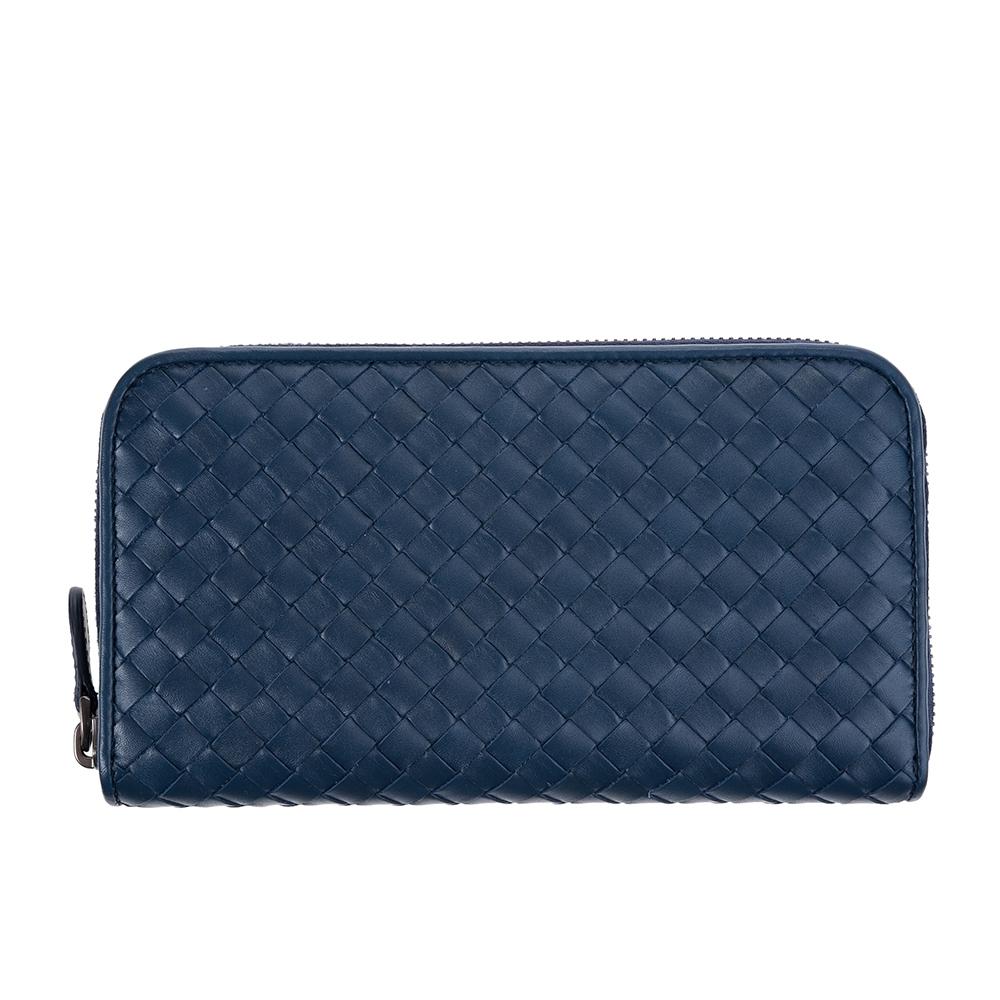 BOTTEGA VENETA 經典小羊皮簡約編織拉鍊長夾 (深藍)