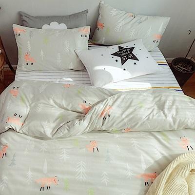 La Lune MIT 頂級精梳棉200織紗雙人被套加大床包四件組 療癒系萌狐