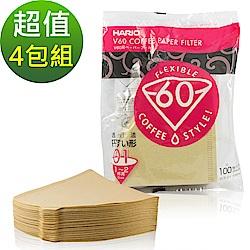 HARIO V60日本製 2人份無漂白濾紙 400張(VCF-01-100M*4)