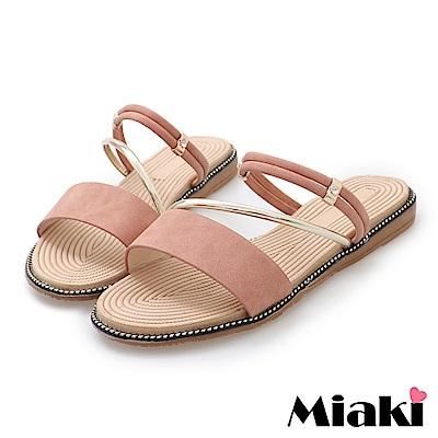 Miaki-涼鞋韓國首選平底2穿涼拖-粉色