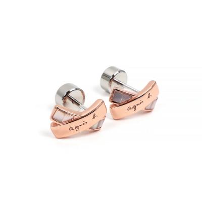 agnes b.Twilight 女性母貝耳環(玫瑰金/針式)