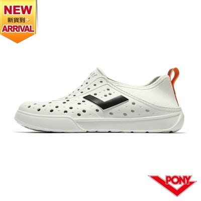 【PONY】ENJOY洞洞鞋 踩後跟 雨鞋 水鞋 中性款-炫彩拉帶/白