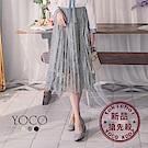 東京著衣-yoco 巴黎名媛彈性腰頭百褶蕾絲多色膝下裙(共三色)
