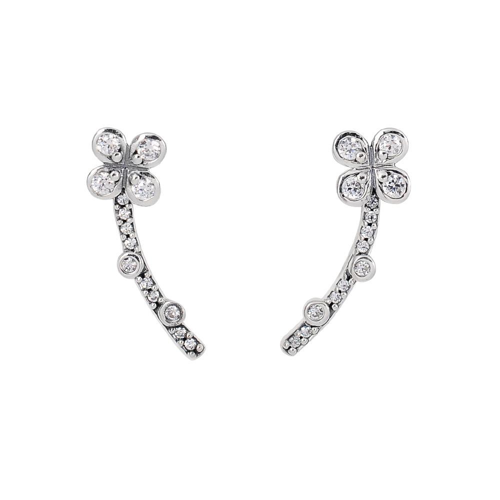 Pandora 潘朵拉  閃耀鑲鋯花朵造型 純銀耳環