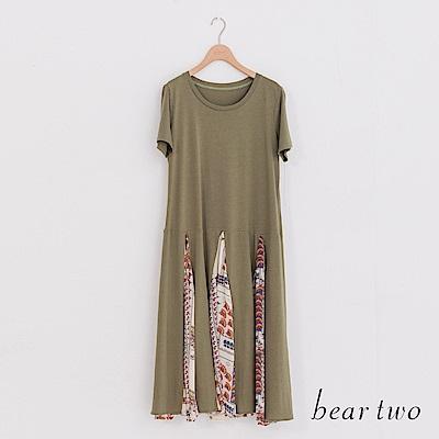 beartwo 拼接感印花短袖洋裝(二色)