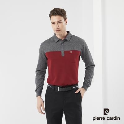 Pierre Cardin皮爾卡登 男款 棉質混紡 條紋剪接 刷毛保暖長袖POLO衫-紅色(5185282-78)