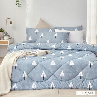 DUYAN竹漾-舒柔棉-雙人床包組+可水洗羽絲絨被-白樺秘境