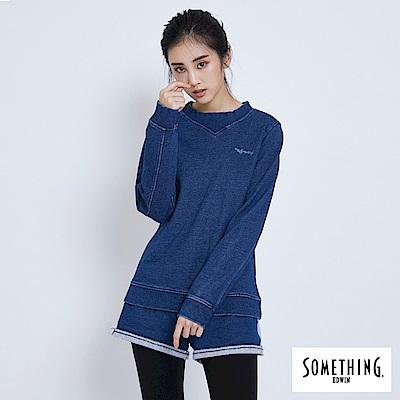 買一送一 SOMETHING 羅紋剪接厚長袖T恤-女-拔洗藍