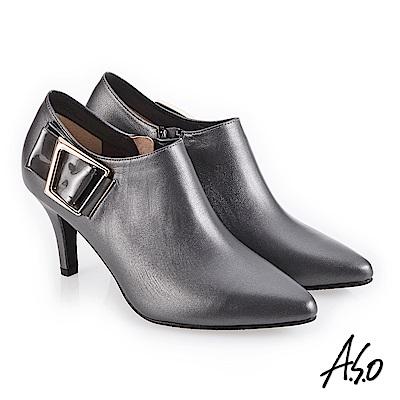 A.S.O 都會時尚 鏡面牛皮微尖楦高跟踝靴 灰