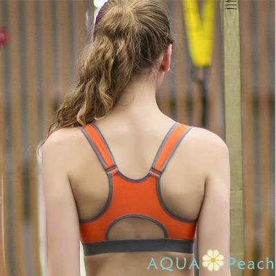 運動內衣 兩件一體式前扣拉鍊聚攏內衣 (橘色)-AQUA Peach