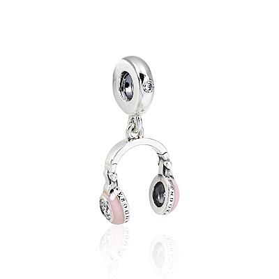 Pandora 潘朵拉 粉色琺瑯鑲鋯耳機 垂墜純銀墜飾