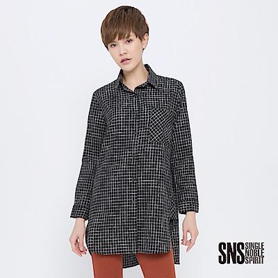 SNS 英倫老街道長版拼接格紋襯衫(2色)