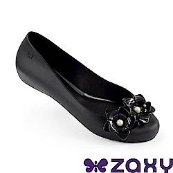 Zaxy 巴西 女 花舞名伶 平底鞋 黑