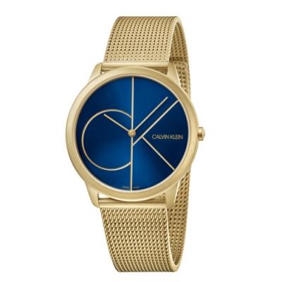 CALVIN KLEIN minimal 系列簡約腕錶-金色藍面/40mm