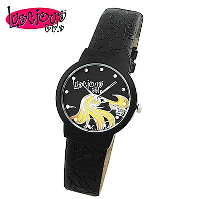 Luscious Girls浪漫少女 玩美女人時尚晶鑽女錶(LG020D時尚黑)