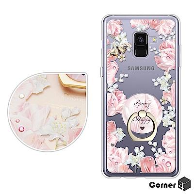 Corner4 Samsung A8+ 2018 奧地利彩鑽指環扣雙料手機殼-芙蓉透粉